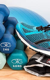 Fitness equipment - trainers and hand weights